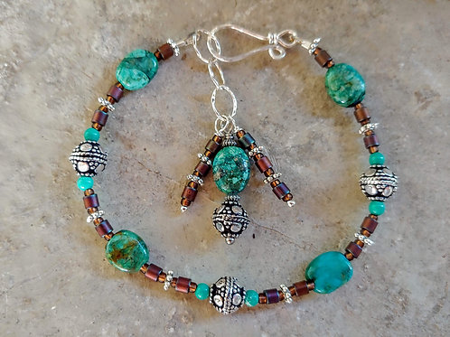 Turquoise and Tobacco Bracelet