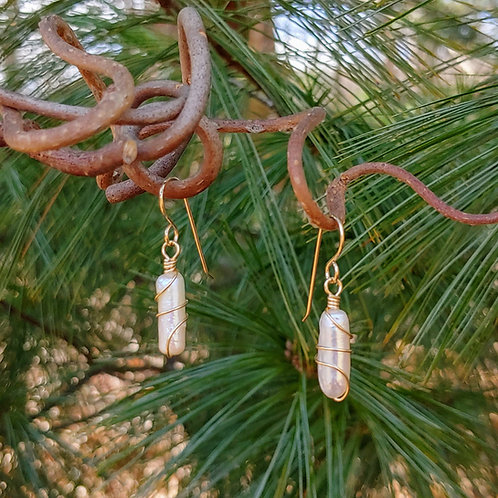 Wrapped White Freshwater Pearl Earrings