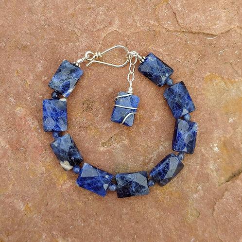 Faceted Sodalite Stone Bracelet