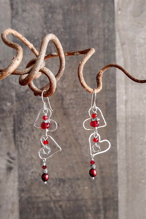 Tumbling Hearts Red Earrings
