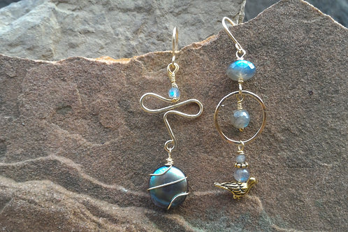 Labradorite and Gold Sister Earrings