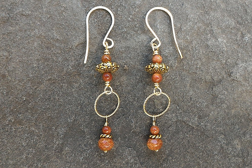 Goldstone and Gold Earring