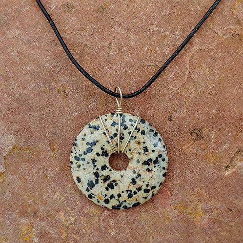 Dalmatian Jasper Sterling Wrap Donut Pendant