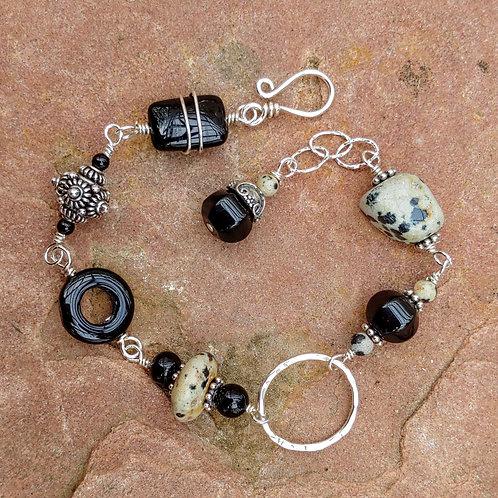 Dalmatian Jasper Sterling Link Bracelet