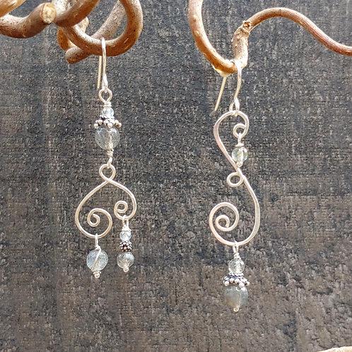 Labradorite Swirly Sister Earrings
