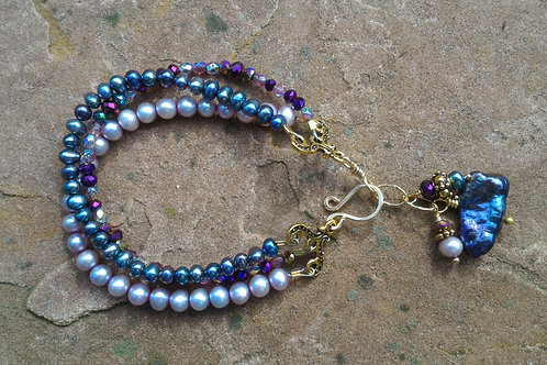 Triple Strand Pearls and Gold Bracelet
