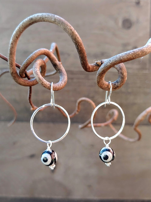 """Evil Eye"" on a Ring Earrings"