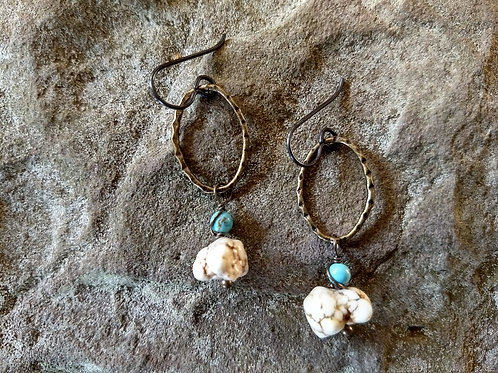 White Turquoise Earthy Earrings