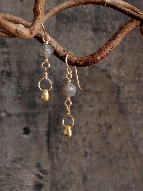 Dainty Labradorite and Golden Beads Earrings