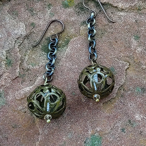 Chunky Vintage Ball Earrings on Long Chain