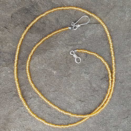 Silver Lined Yellow Seed Bead Strand