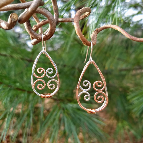 Copper and Silver Layered Libby Earrings