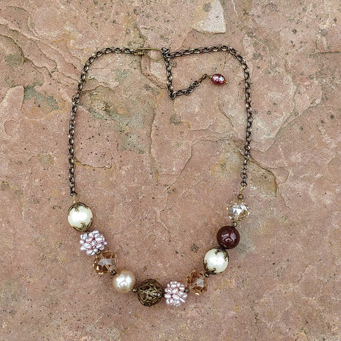 Vintage Wedding Necklace w/Maroon Touch