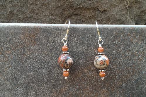 Leopardskin Jasper Silver Earrings