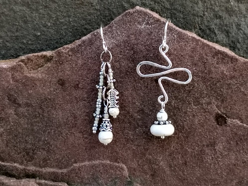White Turquoise Sister Earrings