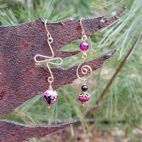 Purple Agate Golds Sister Earrings