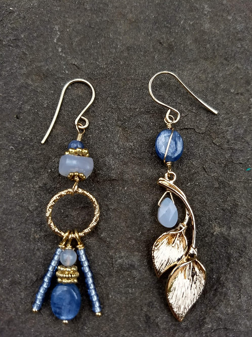 Golden Kyanite and Blue Lace Agate Sister Earrings