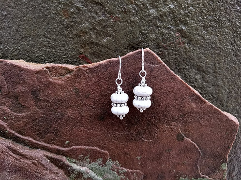 Simple White Turquoise Earrings