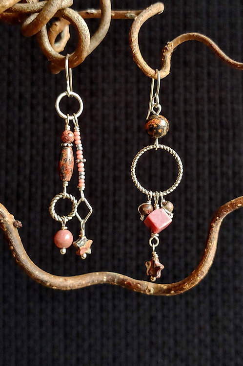 Earthy Pink Sister Earrings
