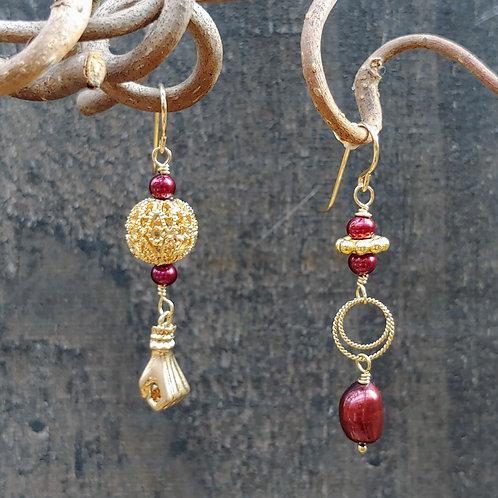Golden Fist Sister Earrings
