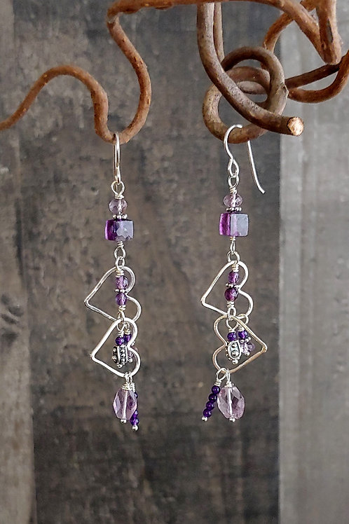 Elaborate Hearts Amethyst Earrings
