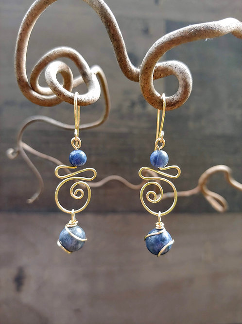 Sodalite and Gold Wirework Earrings
