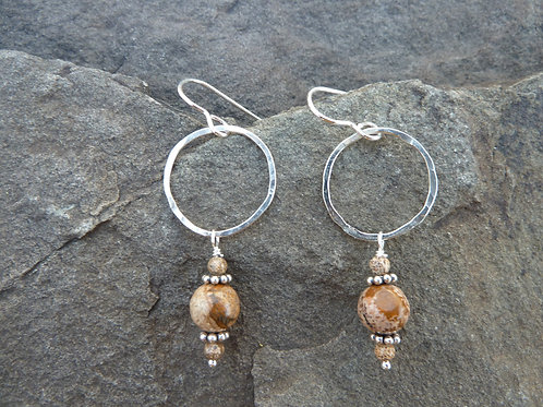Picture Jasper with Sterling Rings Earrings