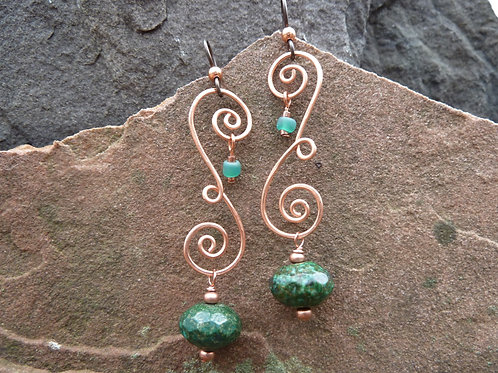 Copper Francine Earrings with African'Turquoise'