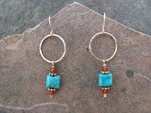 Carnelian Turquoise Gold Earrings