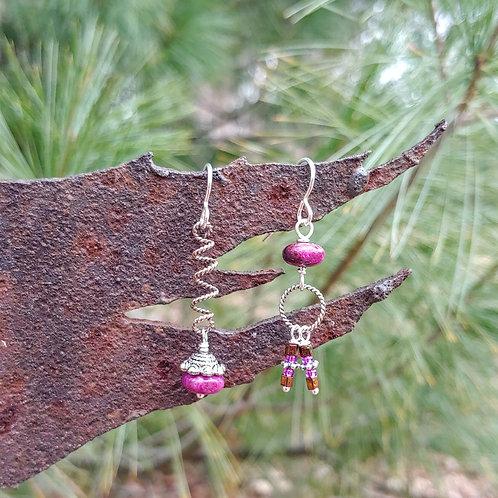 Textured Silver Purple Sister Earrings