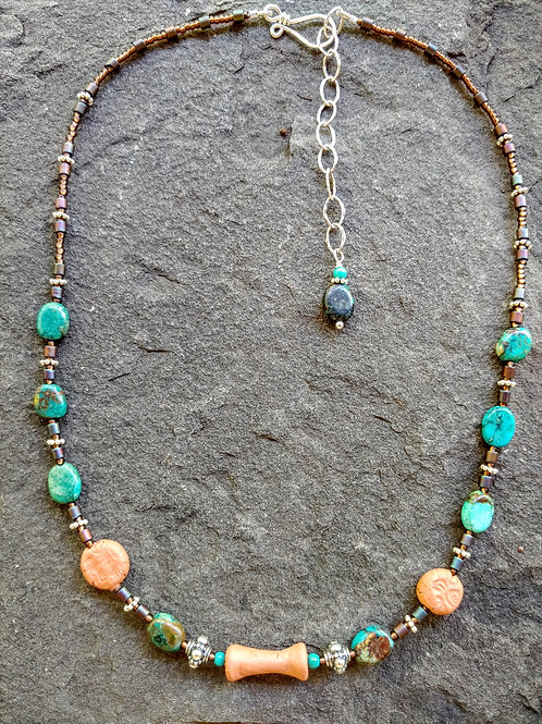 Turquoise and Clay Necklace