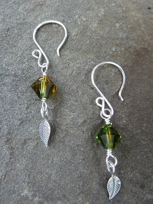 Swarovski Crystal Leaf Earrings