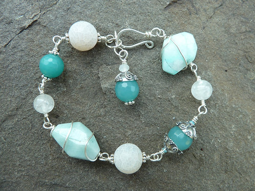 Amazonite Silver Links Bracelet