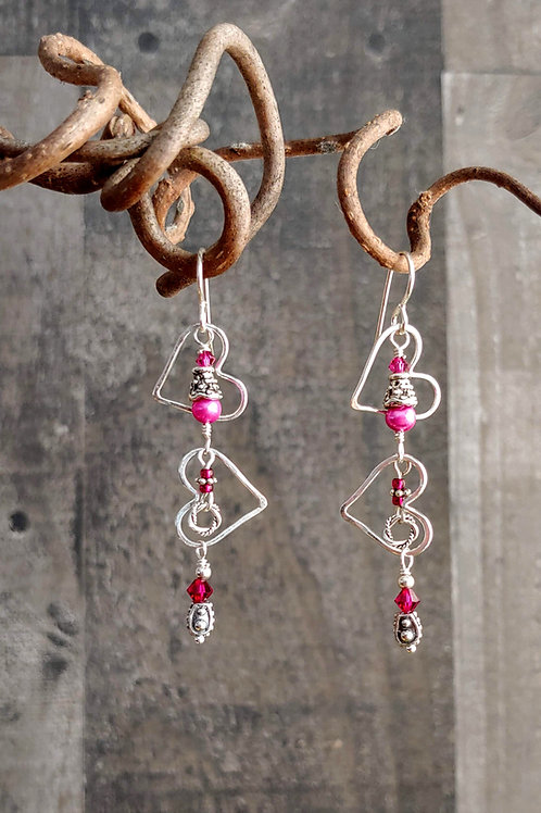 Tumbling Hearts Hot Pink Earrings