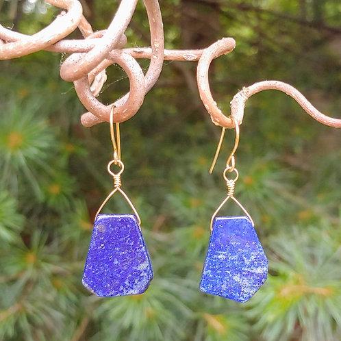 Lapis Lazuli Slab Earrings