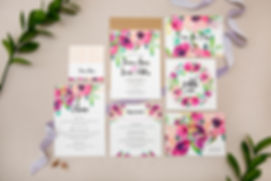 Floral wedding stationery, watecolour design. Country garden wedding stationery.