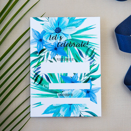Pack of 10 Blue Tropical Party Invites