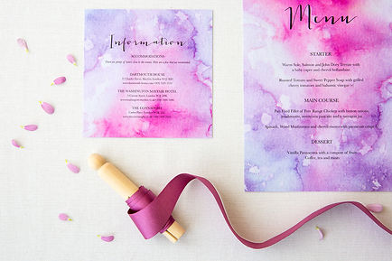 In-House Wedding Design. Stationery Suite. Waterocolour Stationey.