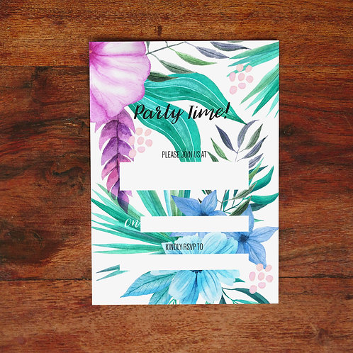 Pack of 10 Purple Tropical Party Invites