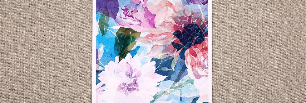 A3 Midnight Blue Floral Print