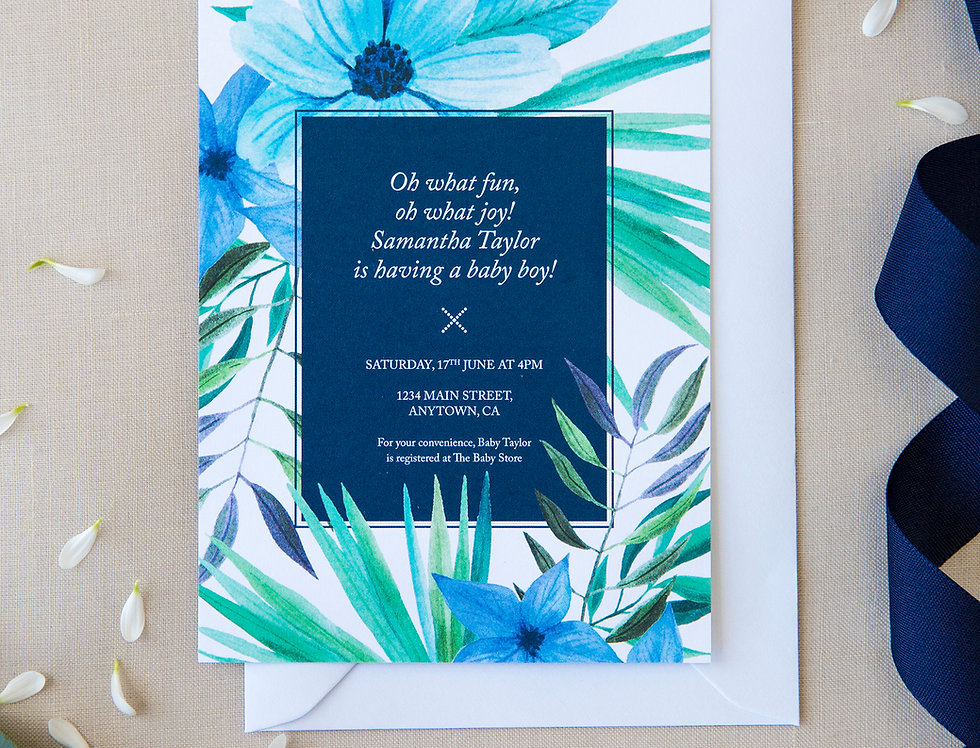 10 Tropical Blue Baby Shower Invites