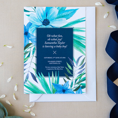 Pack of 10 Tropical Blue Baby Shower Invites