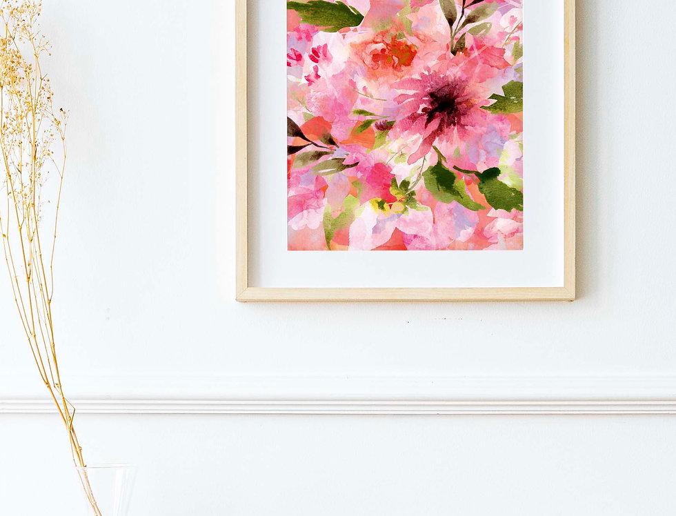 A4 Cottage Garden Floral Print
