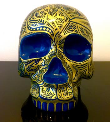Gold & Teal Skull
