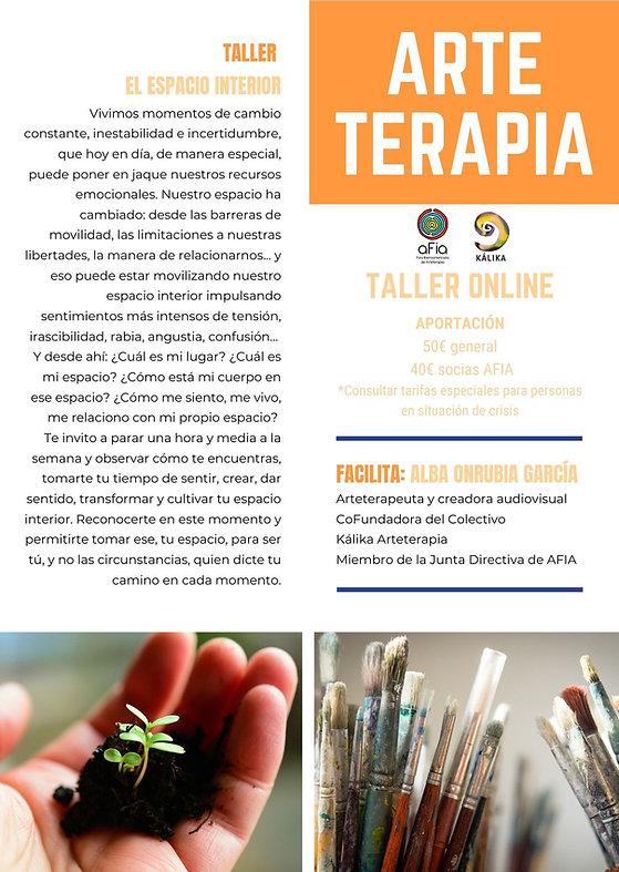 Taller de Arteterapia online. El espacio interior. Facilitadora Alba Onrubia García. AFIA. Kálika.