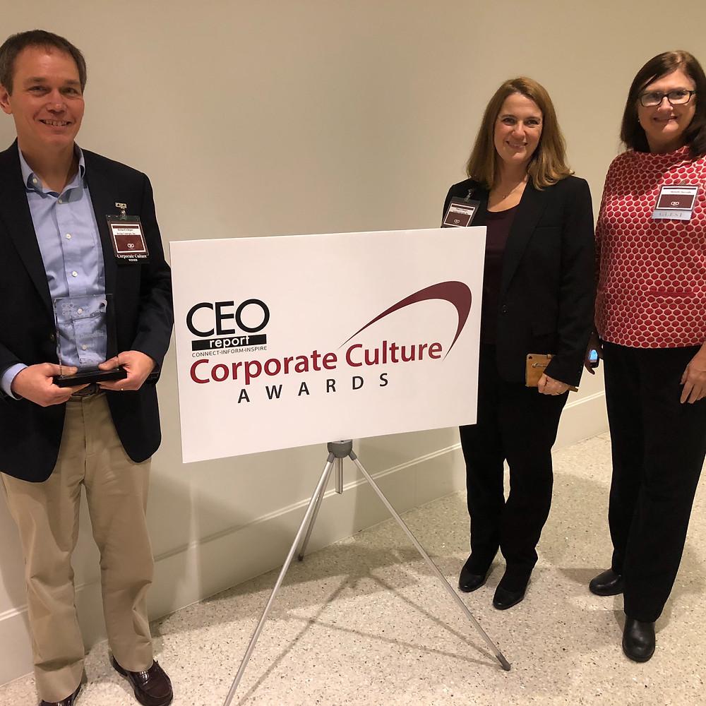 Richard Scheper, Stacey Scheper, Michelle Marzullo at the CEO Report 2018 Baltimore Corporate Culture Awards
