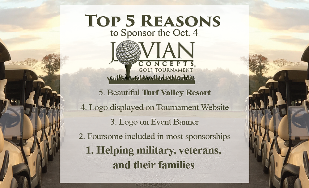 Sponsor the Jovian Concepts Annual Golf Tournament to help military, veterans, and their families Oct. 4, 2019.