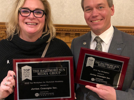 The Baltimore Sun Names Jovian Concepts, Inc., a Winner of the Baltimore Top Workplaces 2019 Award