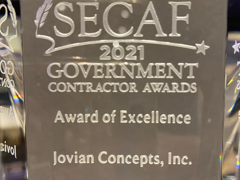 Jovian Concepts Wins Award of Excellence from SECAF!