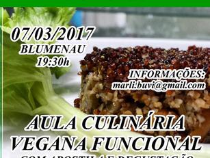 Blumenau :  Aula Culinária Vegana Funcional   -  7 março